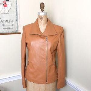 Firenze Italy Lambskin leather tan moto jacket